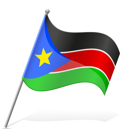 south sudan: flag of South Sudan vector illustration isolated on white background