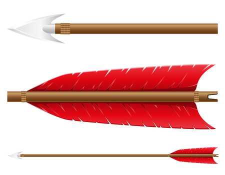 indian weapons: arrow for bow vector illustration isolated on white background