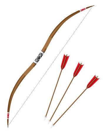 arco y flecha: el arco y las flechas ilustraci�n vectorial aislados en fondo blanco Foto de archivo