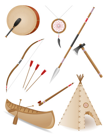 wigwam: set icons objects american indians vector illustration isolated on white background