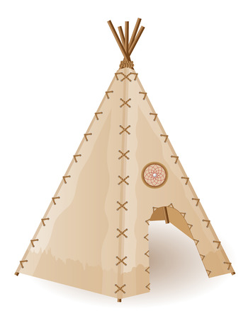 wigwam american indians vector illustration isolated on white background illustration