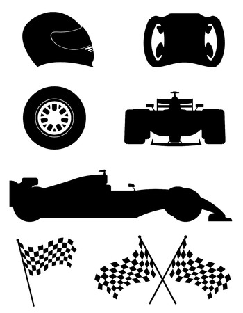 drag race: black silhouette set racing icons vector illustration isolated on white background
