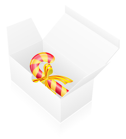 new year packing box with candy vector illustration isolated on white background illustration