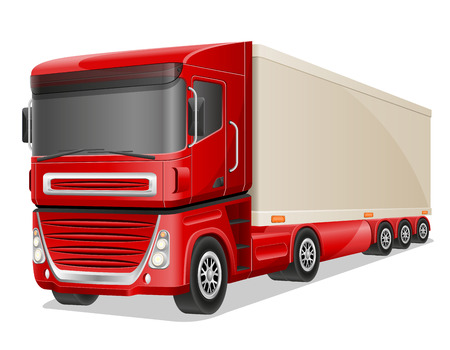 truck on highway: big red truck vector illustration isolated on white background