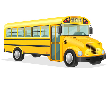 driving school: school bus vector illustration isolated on white background