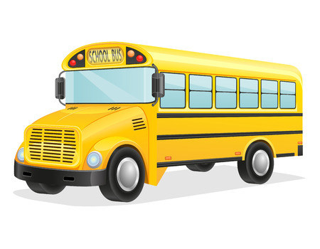 old school: school bus vector illustration isolated on white background