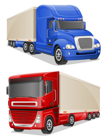 truck on highway: big blue and red trucks vector illustration isolated on white background Stock Photo