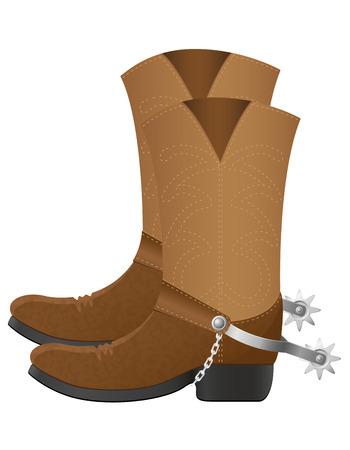 botas vaqueras: botas de vaquero ilustraci�n vectorial aislados en fondo blanco