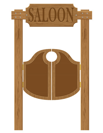 barn wood: doors in western saloon wild west vector illustration isolated on white background Stock Photo