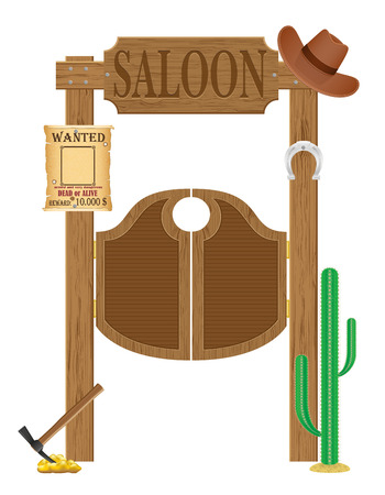 west gate: doors in western saloon wild west vector illustration isolated on white background Stock Photo