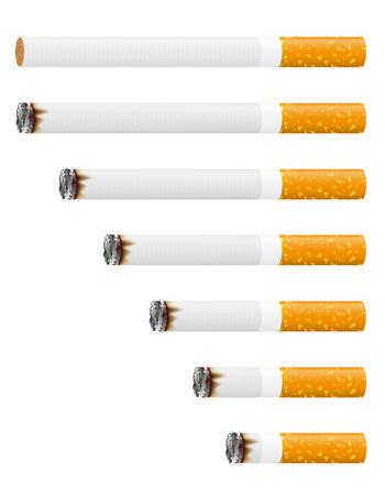 smoldering: smoldering cigarette illustration isolated on white background Stock Photo