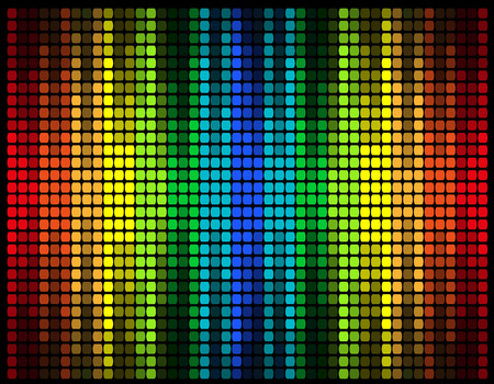 abstract multicolored graphic equalizer vector illustration isolated on black background Stock Photo
