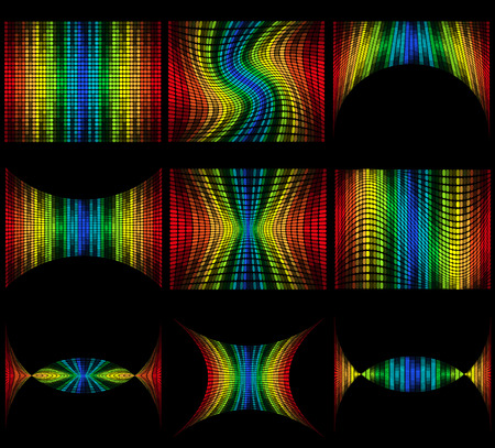 set abstract multicolored graphic equalizer vector illustration isolated on black background illustration
