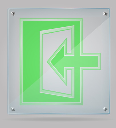 transparent sign exit on the plate vector illustration isolated on gray background illustration