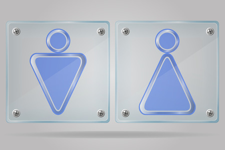 transparent sign man and women toilets on the plate vector illustration isolated on gray background illustration