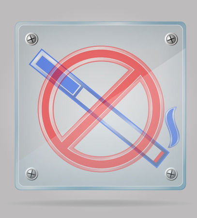 transparent sign no smoking on the plate vector illustration isolated on gray background illustration