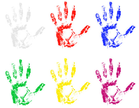 forensic: hand print of different colors illustration Stock Photo