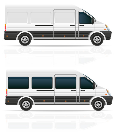 van: mini bus for the carriage of cargo and passengers vector illustration isolated on white background Stock Photo