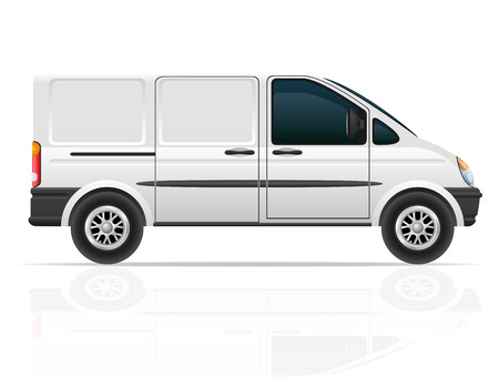 commercial van: van for the carriage of cargo vector illustration isolated on white background