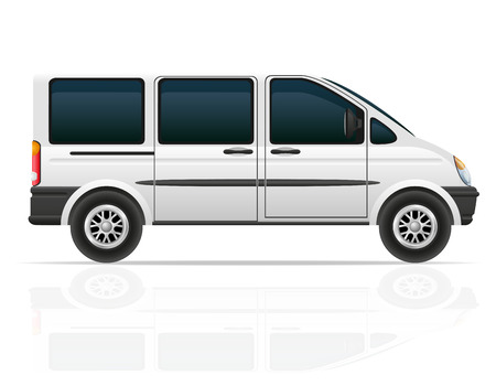 commercial van: van for the carriage of passengers vector illustration isolated on white background