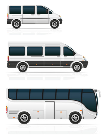 mini bus: large and small buses for passenger transport illustration isolated on white background Stock Photo
