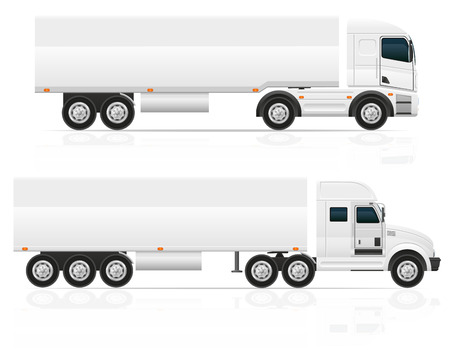 white van: big truck tractor for transportation cargo illustration isolated on white background