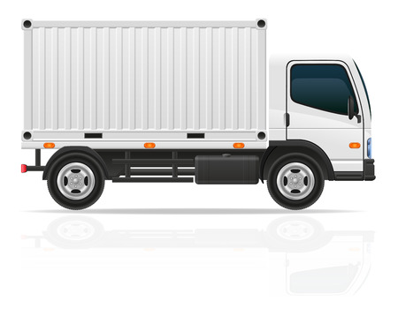truck engine: small truck for transportation cargo vector illustration isolated on white background