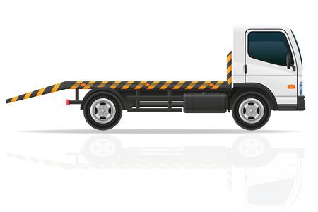 교통 장애 및 긴급 자동차의 벡터 일러스트 레이 션 견인 트럭 흰색 배경에 고립