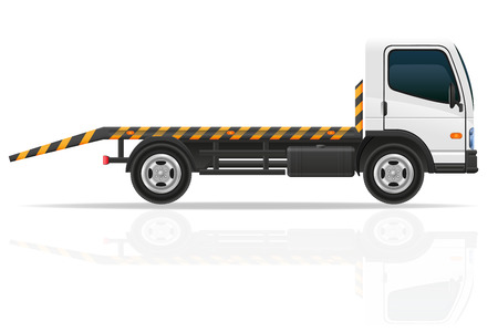 cami�n de remolque para las fallas de transporte y la ilustraci�n vectorial coches de emergencia aisladas sobre fondo blanco Foto de archivo