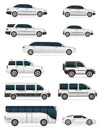 mini bus: set of cars for the transportation passengers vector illustration isolated on white background Stock Photo