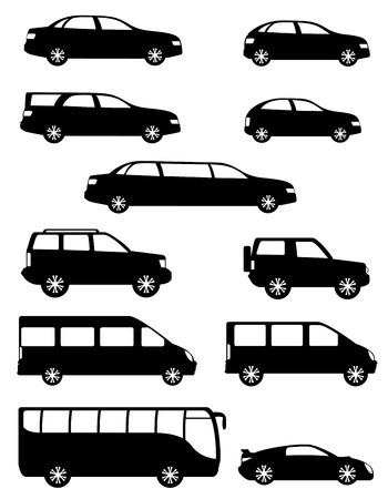 set voitures particulières icônes avec différents organismes silhouette noire illustration isolé sur fond blanc