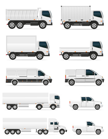 přepravní: Sada ikon automobilů a kamionu pro přepravu nákladu vektorové ilustrace na bílém pozadí