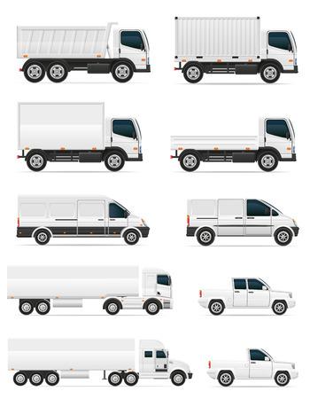 transport: set van pictogrammen van auto's en vrachtwagens voor het vervoer lading vector illustratie geïsoleerd op een witte achtergrond Stockfoto
