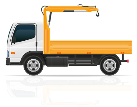 uplift: truck with a small crane for construction vector illustration isolated on white background Stock Photo