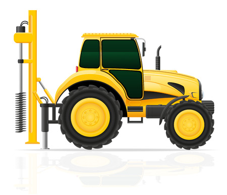 drilling rig: tractor with a drilling rig vector illustration isolated on white background