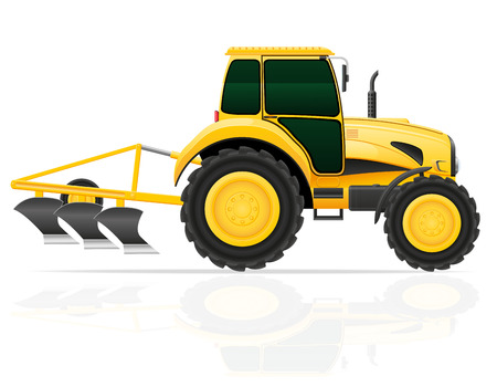 plow: tractor with plow vector illustration isolated on white background