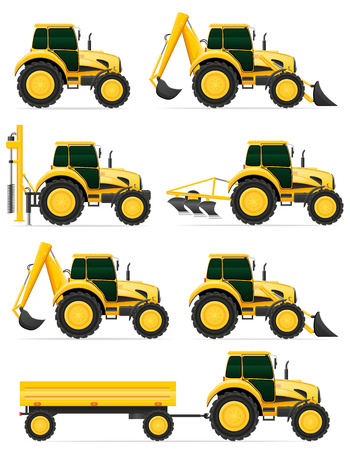 construction equipment: set icons yellow tractors vector illustration isolated on white background Stock Photo