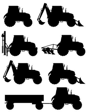 tractor trailer: set icons tractors black silhouette vector illustration isolated on white background