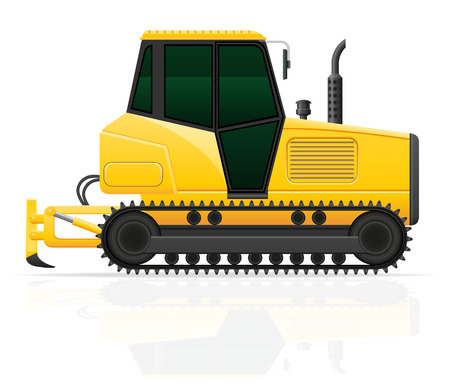 plow: caterpillar tractor with plow vector illustration isolated on white background