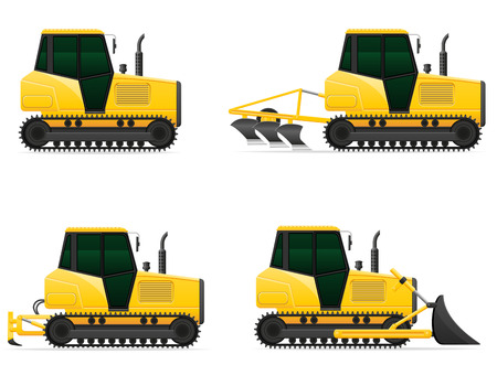 yellow tractors: set icons yellow caterpillar tractors vector illustration isolated on white background Stock Photo