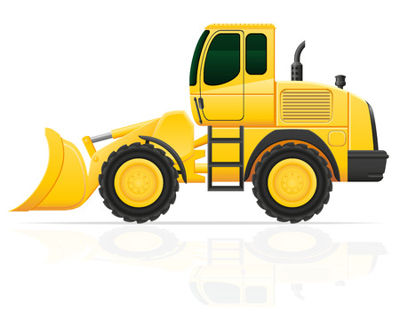 scraper: bulldozer for road works illustration isolated on white background Stock Photo