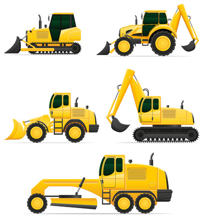 road scraper: car equipment for construction work illustration isolated on white background