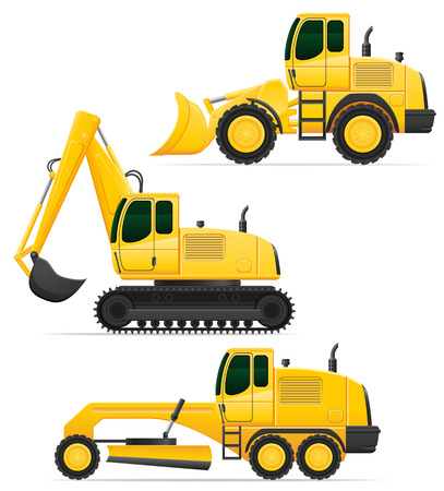 road works: car equipment for road works vector illustration isolated on white background Stock Photo
