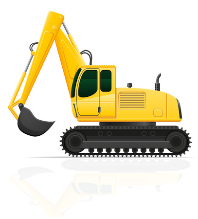 road works: excavator for road works illustration isolated on white background