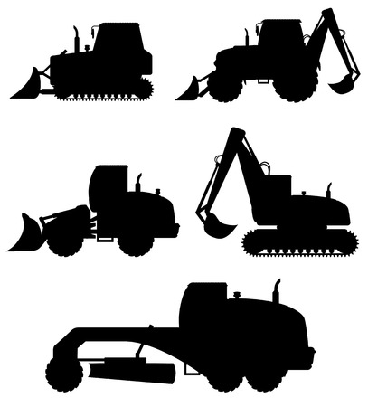 road grader: car equipment for construction work black silhouette vector illustration isolated on white background