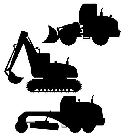 road grader: car equipment for road works black silhouette vector illustration isolated on white background Illustration