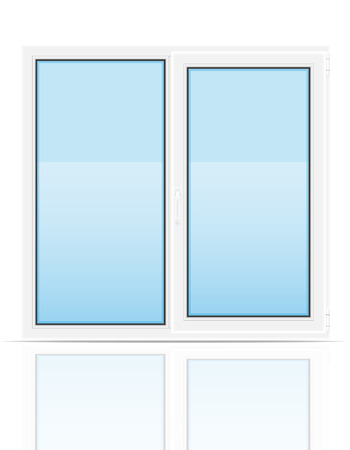 indoors: plastic transparent window view indoors vector illustration isolated on white background Stock Photo