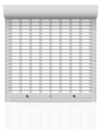 rolling garage door: metal perforated rolling shutters vector illustration isolated on white background
