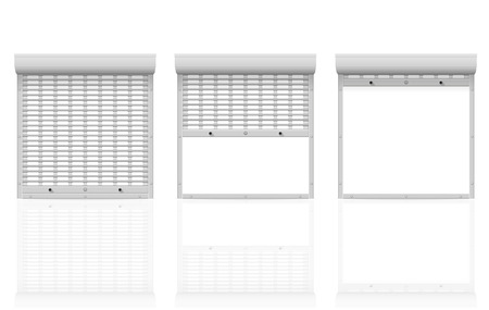 metal perforated rolling shutters vector illustration isolated on white background illustration