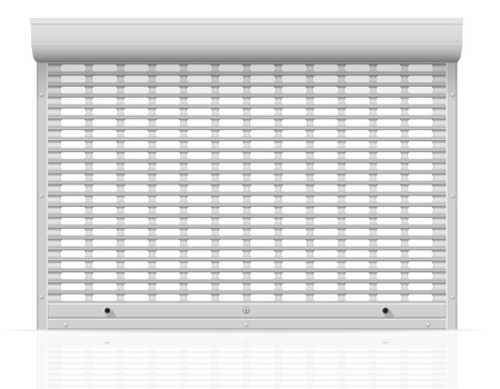 metal perforated rolling shutters vector illustration isolated on white background
